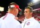 Sep 28, 2013; Columbus, OH, USA; Wisconsin Badgers head coach Gary Andersen (left) talks with Urban Meyer after the Ohio State Buckeyes defatted the Wisconsin Badgers 31-24 at Ohio Stadium. Mandatory Credit: Andrew Weber-USA TODAY Sports