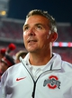 Sep 28, 2013; Columbus, OH, USA; Ohio State Buckeyes head coach Urban Meyer walks off the field after defeating the Wisconsin Badgers  31-24 at Ohio Stadium. Mandatory Credit: Andrew Weber-USA TODAY Sports