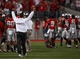 Sep 28, 2013; Columbus, OH, USA; Ohio State Buckeyes head coach Urban Meyer celebrates during the fourth quarter against the Wisconsin Badgers at Ohio Stadium. Buckeyes beat the Badgers 31-24. Mandatory Credit: Raj Mehta-USA TODAY Sports