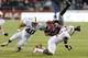 Sep 28, 2013; Seattle, WA, USA; Stanford Cardinal cornerback Wayne Lyons (2) tackles Washington State Cougars running back Marcus Mason (35) during the 2nd half at CenturyLink Field. Stanford defeated Washington State 55-17. Mandatory Credit: Steven Bisig-USA TODAY Sports