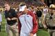 Sep 28, 2013; Tempe, AZ, USA; USC Trojans head coach Lane Kiffin reacts after losing to the Arizona State Sun Devils 62-41 at Sun Devil Stadium. Mandatory Credit: Matt Kartozian-USA TODAY Sports