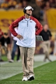 Sep 28, 2013; Tempe, AZ, USA; USC Trojans head coach Lane Kiffin reacts during the second half against the Arizona State Sun Devils at Sun Devil Stadium. Mandatory Credit: Matt Kartozian-USA TODAY Sports