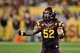 Sep 28, 2013; Tempe, AZ, USA; Arizona State Sun Devils linebacker Carl Bradford (52) signals to the crowd to make noise during the second half against the USC Trojans at Sun Devil Stadium. Mandatory Credit: Matt Kartozian-USA TODAY Sports