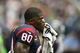 Sep 29, 2013; Houston, TX, USA; Houston Texans receiver Andre Johnson (80) wipes sweat off his face prior to the game against the Seattle Seahawks at Reliant Stadium. Mandatory Credit: Matthew Emmons-USA TODAY Sports
