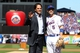 Sep 29, 2013; New York, NY, USA; New York Mets former catcher Mike Piazza poses for pictures with New York Mets third baseman David Wright (5) after throwing the ceremonial first pitch after his induction into the Mets Hall of Fame prior to the game against the Milwaukee Brewers at Citi Field. Mandatory Credit: Brad Penner-USA TODAY Sports