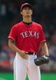 Sep 29, 2013; Arlington, TX, USA; Texas Rangers starting pitcher Yu Darvish (11) on the mound before the game against the Los Angeles Angels at Rangers Ballpark in Arlington. Mandatory Credit: Tim Heitman-USA TODAY Sports