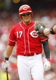 Sep 29, 2013; Cincinnati, OH, USA; Cincinnati Reds center fielder Shin-Soo Choo (17) walks to the plate during the first inning against the Pittsburgh Pirates at Great American Ball Park. Mandatory Credit: Frank Victores-USA TODAY Sports