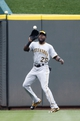 Sep 29, 2013; Cincinnati, OH, USA; Pittsburgh Pirates left fielder Felix Pie (26) makes a catch during the first inning against the Cincinnati Reds at Great American Ball Park. Mandatory Credit: Frank Victores-USA TODAY Sports