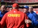 Sep 29, 2013; Kansas City, MO, USA; New York Giants head coach Tom Coughlin congratulates Kansas City Chiefs head coach Andy Reid after the game at Arrowhead Stadium. The Chiefs won 31-7. Mandatory Credit: Denny Medley-USA TODAY Sports