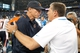 Sep 29, 2013; Detroit, MI, USA; Chicago Bears head coach Marc Trestman (left) and Detroit Lions head coach Jim Schwartz (right) shakes hands after the game at Ford Field. The Lions won 40-32. Mandatory Credit: Tim Fuller-USA TODAY Sports