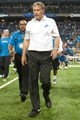 Sep 29, 2013; Detroit, MI, USA; Detroit Lions head coach Jim Schwartz walks of the field after the game against the Chicago Bears at Ford Field. The Lions won 40-32. Mandatory Credit: Tim Fuller-USA TODAY Sports