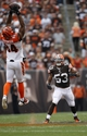 Sep 29, 2013; Cleveland, OH, USA; Cleveland Browns inside linebacker Craig Robertson (53) watches Cincinnati Bengals tight end Jermaine Gresham (84) make a catch during the fourth quarter at FirstEnergy Stadium. Browns beat the Bengals 17-6. Mandatory Credit: Raj Mehta-USA TODAY Sports