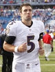 Sep 29, 2013; Orchard Park, NY, USA; Baltimore Ravens quarterback Joe Flacco (5) runs off the field after the game against the Buffalo Bills at Ralph Wilson Stadium. The Bills won 23-20. Mandatory Credit: Kevin Hoffman-USA TODAY Sports
