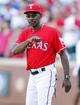 Sep 29, 2013; Arlington, TX, USA; Texas Rangers manager Ron Washington (38) motions to the Los Angeles Angels bench after the game at Rangers Ballpark in Arlington. The Rangers beat the Angels 6-2. Mandatory Credit: Tim Heitman-USA TODAY Sports