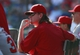 Sep 29, 2013; Arlington, TX, USA; Los Angeles Angels starting pitcher Jered Weaver (36) in the dugout during the game against the Texas Rangers at Rangers Ballpark in Arlington. The Rangers beat the Angels 6-2. Mandatory Credit: Tim Heitman-USA TODAY Sports