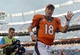 Sep 29, 2013; Denver, CO, USA; Denver Broncos quarterback Peyton Manning (18) waves as he leaves the field following the win over the Philadelphia Eagles at Sports Authority Field at Mile High. The Broncos defeated the Eagles 52-20. Mandatory Credit: Ron Chenoy-USA TODAY Sports