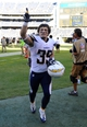 Sep 29, 2013; San Diego, CA, USA; San Diego Chargers running back Danny Woodhead (39) celebrates following a win against the Dallas Cowboys at Qualcomm Stadium. The Chargers won 30-21. Mandatory Credit: Christopher Hanewinckel-USA TODAY Sports