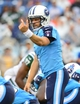 Sep 29, 2013; Nashville, TN, USA; Tennessee Titans quarterback Ryan Fitzpatrick (4) directs his offense at the line against the New York Jets during the second half at LP Field. The Titans beat the Jets 38-13. Mandatory Credit: Don McPeak-USA TODAY Sports