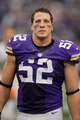 Sep 22, 2013; Minneapolis, MN, USA; Minnesota Vikings linebacker Chad Greenway (52) leaves the field after losing to the Cleveland Browns at Mall of America Field at H.H.H. Metrodome. The Browns win 31-27. Mandatory Credit: Bruce Kluckhohn-USA TODAY Sports