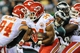 Sep 19, 2013; Philadelphia, PA, USA; Kansas City Chiefs running back Knile Davis (34) carries the ball during the fourth quarter of the game at Lincoln Financial Field. The Kansas City Chiefs beat the Philadelphia Eagles 26-16. Mandatory Credit: John Geliebter-USA TODAY Sports