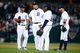 Sep 17, 2013; Detroit, MI, USA; Detroit Tigers short stop Ramon Santiago (39) third baseman Miguel Cabrera (24) first baseman Prince Fielder (28) and second baseman Omar Infante (4) during the game against the Seattle Mariners at Comerica Park. Mandatory Credit: Rick Osentoski-USA TODAY Sports