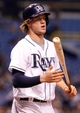 Sep 18, 2013; St. Petersburg, FL, USA; Tampa Bay Rays right fielder Wil Myers (9) at bat against the Texas Rangers at Tropicana Field. Tampa Bay Rays defeated the Texas Rangers 4-3 in twelve inning. Mandatory Credit: Kim Klement-USA TODAY Sports