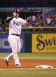 Sep 18, 2013; St. Petersburg, FL, USA; Tampa Bay Rays catcher Jose Lobaton (59) points to the dugout after he singled during the twelfth inning against the Texas Rangers at Tropicana Field. Tampa Bay Rays defeated the Texas Rangers 4-3 in twelve inning. Mandatory Credit: Kim Klement-USA TODAY Sports