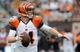 Sep 29, 2013; Cleveland, OH, USA; Cincinnati Bengals quarterback Andy Dalton (14) against the Cleveland Browns at FirstEnergy Stadium. Mandatory Credit: Ken Blaze-USA TODAY Sports