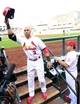 Oct 3, 2013; St. Louis, MO, USA; St. Louis Cardinals right fielder Carlos Beltran (3) salutes the crowd after hitting a 3-run home run against the Pittsburgh Pirates in the third inning in game one of the National League divisional series playoff baseball game at Busch Stadium. Mandatory Credit: Scott Rovak-USA TODAY Sports