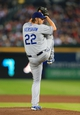 Oct 3, 2013; Atlanta, GA, USA; Los Angeles Dodgers starting pitcher Clayton Kershaw (22) throws against the Atlanta Braves during the fourth inning of game one of the National League divisional series playoff baseball game at Turner Field. Mandatory Credit: Daniel Shirey-USA TODAY Sports