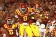 Oct 3, 2013; Ames, IA, USA; Iowa State Cyclones wide receiver Quenton Bundrage (9) and running back Aaron Wimberly (2) celebrate in the end zone against the Texas Longhorns at Jack Trice Stadium. Mandatory Credit: Reese Strickland-USA TODAY Sports