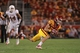 Oct 3, 2013; Ames, IA, USA; Iowa State Cyclones wide receiver Justin Coleman (80) makes the catch against the Texas Longhorns at Jack Trice Stadium. Mandatory Credit: Reese Strickland-USA TODAY Sports