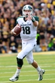 Oct 5, 2013; Iowa City, IA, USA;  Michigan State Spartans quarterback Connor Cook (16) looks to pass against the Iowa Hawkeyes at Kinnick Stadium. Michigan State beat Iowa 26-14.  Mandatory Credit: Reese Strickland-USA TODAY Sports
