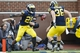 Oct 5, 2013; Ann Arbor, MI, USA; Michigan Wolverines running back Fitzgerald Toussaint (28) celebrates his touchdown with fullback Joe Kerridge (36) in the third quarter against the Minnesota Golden Gophers at Michigan Stadium. Mandatory Credit: Rick Osentoski-USA TODAY Sports
