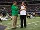 Oct 5, 2013; Arlington, TX, USA; Notre Dame Fighting Irish head coach Brian Kelly and Arizona State Sun Devils head coach Todd Graham chat before the game at AT&T Stadium. Mandatory Credit: Matt Cashore-USA TODAY Sports