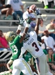 Oct 5, 2013; Birmingham, AL, USA; Florida Atlantic defensive back Keith Reaser (3) breaks up a pass intended for UAB Blazers cornerback Darius Powell (13)  at Legion Field. Mandatory Credit: Marvin Gentry-USA TODAY Sports