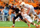 Oct 5, 2013; Syracuse, NY, USA; Syracuse Orange quarterback Terrel Hunt (10) is tackled by Clemson Tigers safety Robert Smith (27) and linebacker Stephone Anthony (42) during the third quarter at the Carrier Dome.  Clemson defeated Syracuse 49-14.  Mandatory Credit: Rich Barnes-USA TODAY Sports