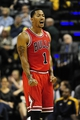 Oct 5, 2013; Indianapolis, IN, USA; Chicago Bulls point guard Derrick Rose (1) reacts after a foul at Bankers life Fieldhouse. Mandatory Credit: Marc Lebryk-USA TODAY Sports