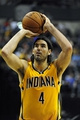 Oct 5, 2013; Indianapolis, IN, USA;  Indiana Pacers power forward Luis Scola (4) shoots a free throw. Final Score Pacers 76 and Bulls 82. Mandatory Credit: Marc Lebryk-USA TODAY Sports