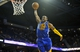 October 5, 2013; Ontario, CA, USA; Golden State Warriors shooting guard Andre Iguodala (9) dunks to score a basket against the Los Angeles Lakers during the first half at Citizens Business Bank Arena. Mandatory Credit: Gary A. Vasquez-USA TODAY Sports