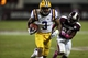 Oct 5, 2013; Starkville, MS, USA; LSU Tigers wide receiver Odell Beckham (3) advances the ball for a touchdown during the game against the Mississippi State Bulldogs at Davis Wade Stadium.  LSU Tigers defeated the Mississippi State Bulldogs 59-26.  Mandatory Credit: Spruce Derden-USA TODAY Sports