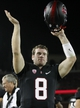 Oct 5, 2013; Stanford, CA, USA; Stanford Cardinal quarterback Kevin Hogan (8) acknowledges the crowd after the Cardinal defeated the Washington Huskies 31-28 at Stanford Stadium. Mandatory Credit: Cary Edmondson-USA TODAY Sports