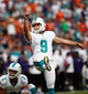 Oct 6, 2013; Miami Gardens, FL, USA; Miami Dolphins kicker Caleb Sturgis (9) makes a field goal against the Baltimore Ravens in the second half at Sun Life Stadium. Mandatory Credit: Robert Mayer-USA TODAY Sports