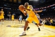 Oct 6, 2013; Los Angeles, CA, USA; Los Angeles Lakers guard Jodie Meeks (20) looks to pass while along the baseline during the first half against the Denver Nuggets at Staples Center. Mandatory Credit: Christopher Hanewinckel-USA TODAY Sports