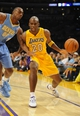Oct 6, 2013; Los Angeles, CA, USA; Los Angeles Lakers guard Jodie Meeks (20) works against Denver Nuggets forward Darrell Arthur (00)during the first half at Staples Center. Mandatory Credit: Christopher Hanewinckel-USA TODAY Sports