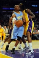 Oct 6, 2013; Los Angeles, CA, USA; Denver Nuggets guard Randy Foye (4) passes the ball from under the basket during the second half against the Los Angeles Lakers at Staples Center. The Nuggets won 97-88. Mandatory Credit: Christopher Hanewinckel-USA TODAY Sports