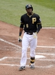 Oct 7, 2013; Pittsburgh, PA, USA; Pittsburgh Pirates left fielder Starling Marte (6) reacts after striking out in the sixth inning against the St. Louis Cardinals in game four of the National League divisional series at PNC Park. Mandatory Credit: H.Darr Beiser-USA TODAY Sports