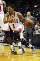 Oct 7, 2013; St. Louis, MO, USA; Chicago Bulls point guard Derrick Rose (1) drives to the basket during the first quarter against the Memphis Grizzlies at Scottrade Center. Mandatory Credit: Jeff Curry-USA TODAY Sports