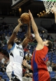 Oct 7, 2013; Minneapolis, MN, USA;  CSKA Moscow forward Vladimir Micov (5) blocks a shot by Minnesota Timberwolves guard Othyus Jeffers (12) in the fourth quarter at Target Center.  CSKA Moscow defeated the Minnesota Timberwolves 108-106 in overtime.  Mandatory Credit: Marilyn Indahl-USA TODAY Sports