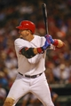 Sep 26, 2013; Arlington, TX, USA; Texas Rangers catcher A.J. Pierzynski (12) bats during the game against the Los Angeles Angels at Rangers Ballpark in Arlington. Mandatory Credit: Kevin Jairaj-USA TODAY Sports
